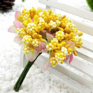 Mini Bouquet Flower Stamen - Speckled and petal, Yellow, 10 pieces, Long 9cm, [ST1114]
